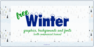 Free winter graphics and fonts with commercial licenses to create products for personal use and sale
