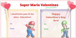 Free printable Super Mario Valentines for your Mario lover to share with his classmates on Valentines Day.