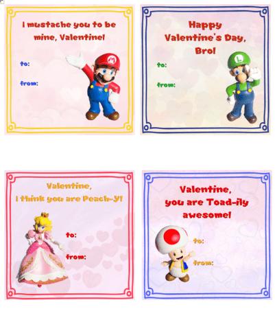 printable mario valentines