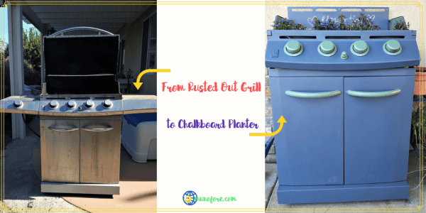 collage of gas grill turned into planter