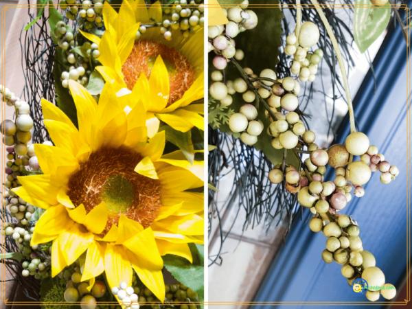 close up of sunflower wreath