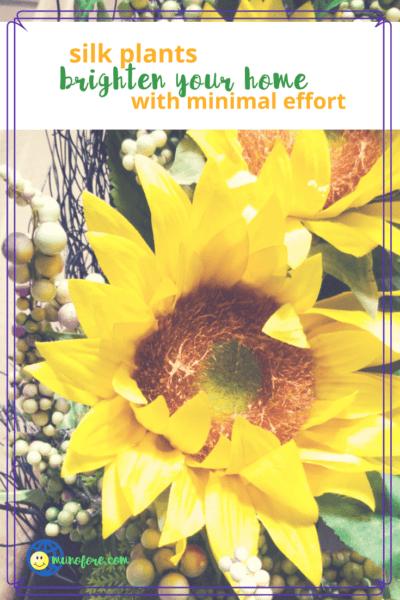 close up of silk sunflower