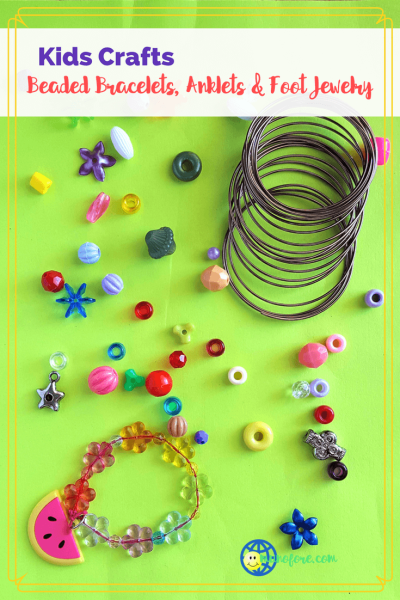 """beads, wire and a beaded bracelet with text overlay """"beaded bracelets, anklets and foot jewelry"""""""