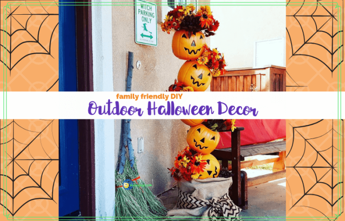 "Halloween decorations on a prch with text overlay ""Falimy Friendly DIY Outdoor Halloween Decor"""
