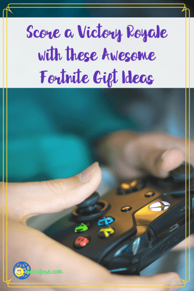 "hands holding a video game controller with text overlay ""Score a Victory Royale with these awesome Fortnite gift ideas"""