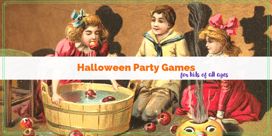 "vintage drawing of girl bobbing for apples with text ""Fun and frugal Halloween Party Games for Kids of all Ages"""
