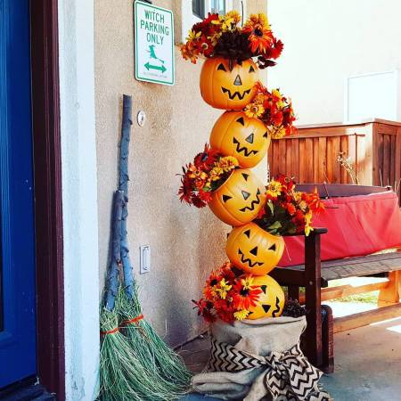 Halloween Pumpkin Totem with DIY Witches brooms
