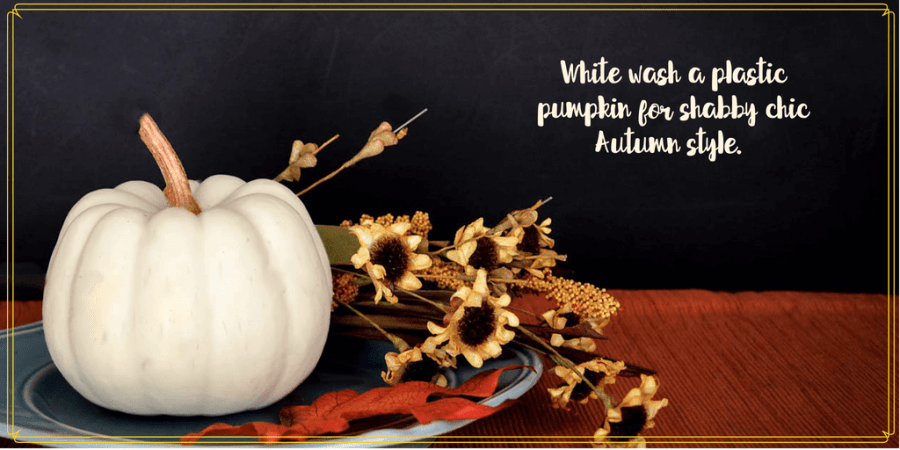 """white pumpkin on a plate with flowers and text overlay """"White-wash a pumpkin for shabby chic Autumn Style"""""""