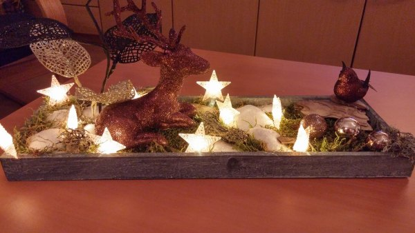 wooden tray Christmas table centerpiece