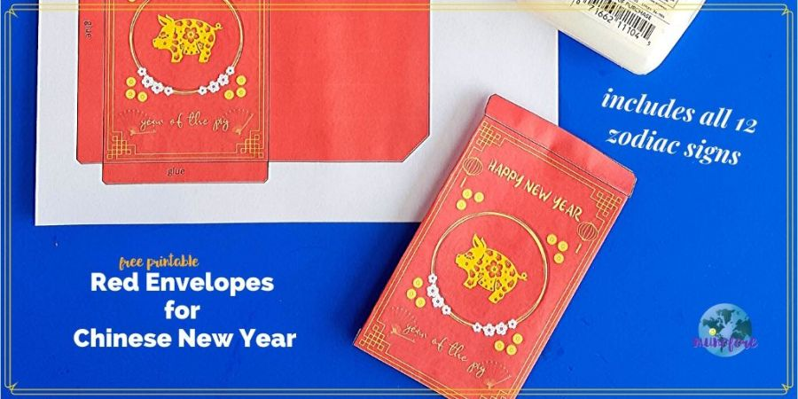 "supplies for red envelope making with text overlay ""free printable Red Envelopes for Chinese New Year"""