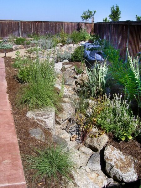 dry stream bed along a house