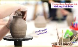 child smoothing out coil pot
