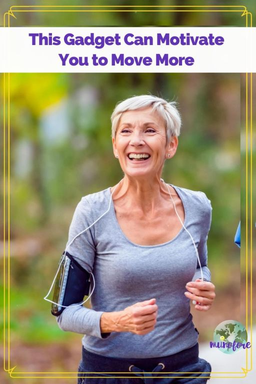 "woman walking in woods with text overlay ""this gadget can motivate you to move more"""