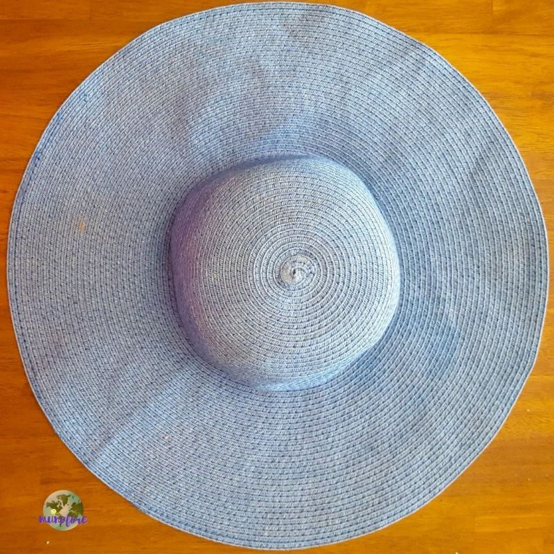 top down view of blue sun hat