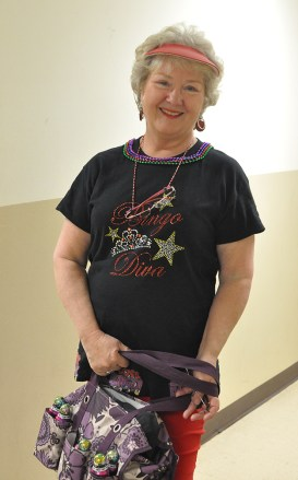 Cheryl Coddington wears her Bingo Diva costume for New Wrinkles.
