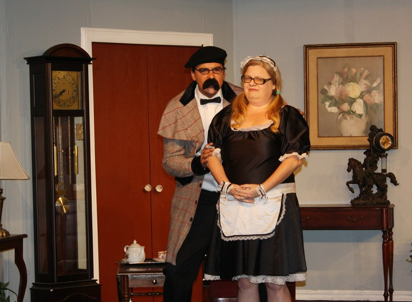 Maid to order: Patrick J. Wilder and Beth Reynolds in in the Kings Players production of 'Murder Me, Murder Me Not.'