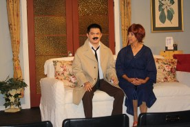 Mustache emergency: Steven Auyeung and Kim Spicer in the Kings Players production of 'Murder Me, Murder Me Not.'