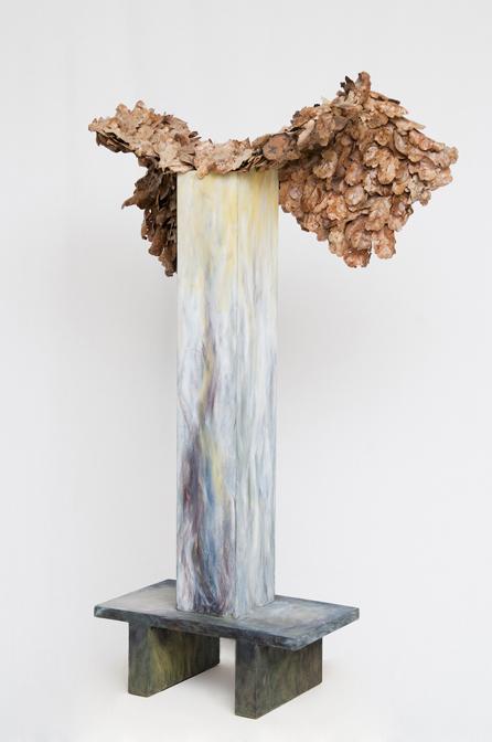 Mithra, oak leaves, metal armature, encaustic on alder wood, 2007, 44x30x14