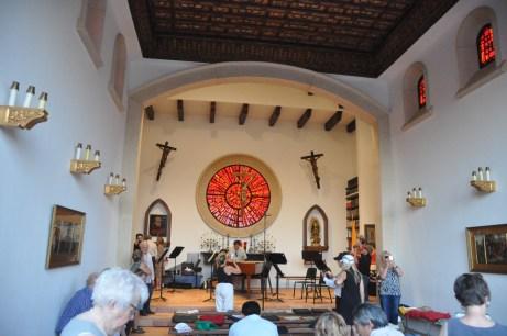 Inside the chapel: a peek at intermission.