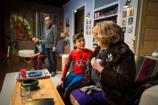 """New York apartment: Logan Cooley, left, Billy Jack Anderson, Leo Jimesanagnos and Amelia Ryan in """"Mothers and Sons."""" Photo / StageWorks Fresno"""