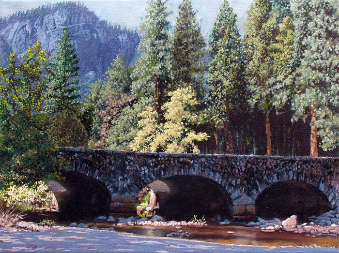 "9"" x 12"" acrylic and oil on canvas painting of the Ahwahnee Bridge, in Yosemite National Park, by artist, Trowzers Akimbo. The painting was begun while serving as the ""visiting artist"" at the Yosemite Art Center, taking visitors out to paint ""plein air"" at various locations in the park."