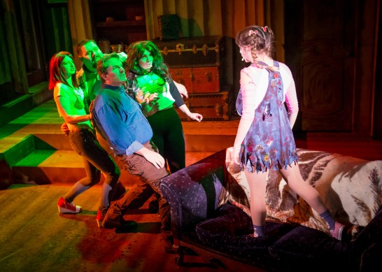 "She's a demon: Kathryn Fischer, Travis Walsh, Aaron Kohlhoff, Meganne Kocher, Madison Mitchell in ""Evil Dead: The Musical."" Photo / Playhouse Merced"