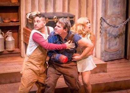 "On the run: Enrique Vega, Aaron Kohlhoff, Bridget Mitchell in ""Evil Dead: The Musical."" Photo / Playhouse Merced"