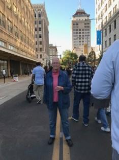Fresno artist Joyce Aiken in the middle of Fulton Street.