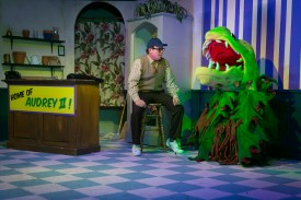 """Unlikely pals: Terry Lewis is Seymour in """"Little Shop of Horrors."""" Photo / StageWorks Fresno"""