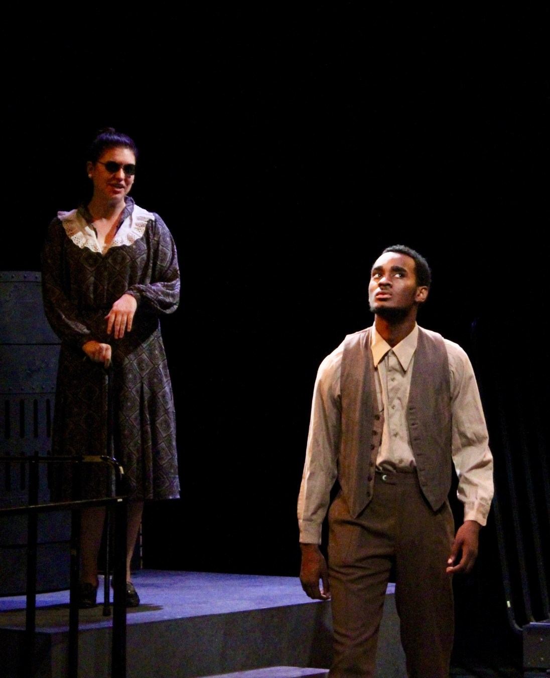 "Blind: Emily Kearn as Mrs. Dalton and Josh Slack as Bigger in ""Native Son."" Photo / Fresno State"