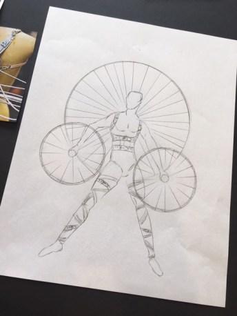 A sketch of Pattie Wilkinson's Trashique creation.
