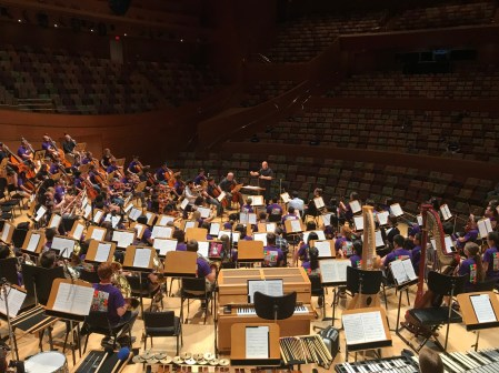 The FOOSA Orchestra rehearsing for its 2017 Disney Hall concert.