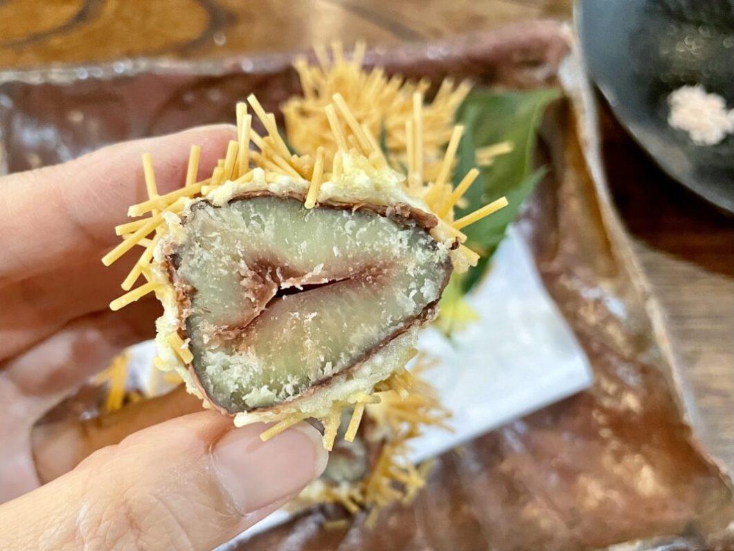 百古里庵の栗の天ぷら