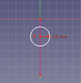 """補助線と円心を選択して、""""点をオブジェクト上に拘束""""をクリック"""
