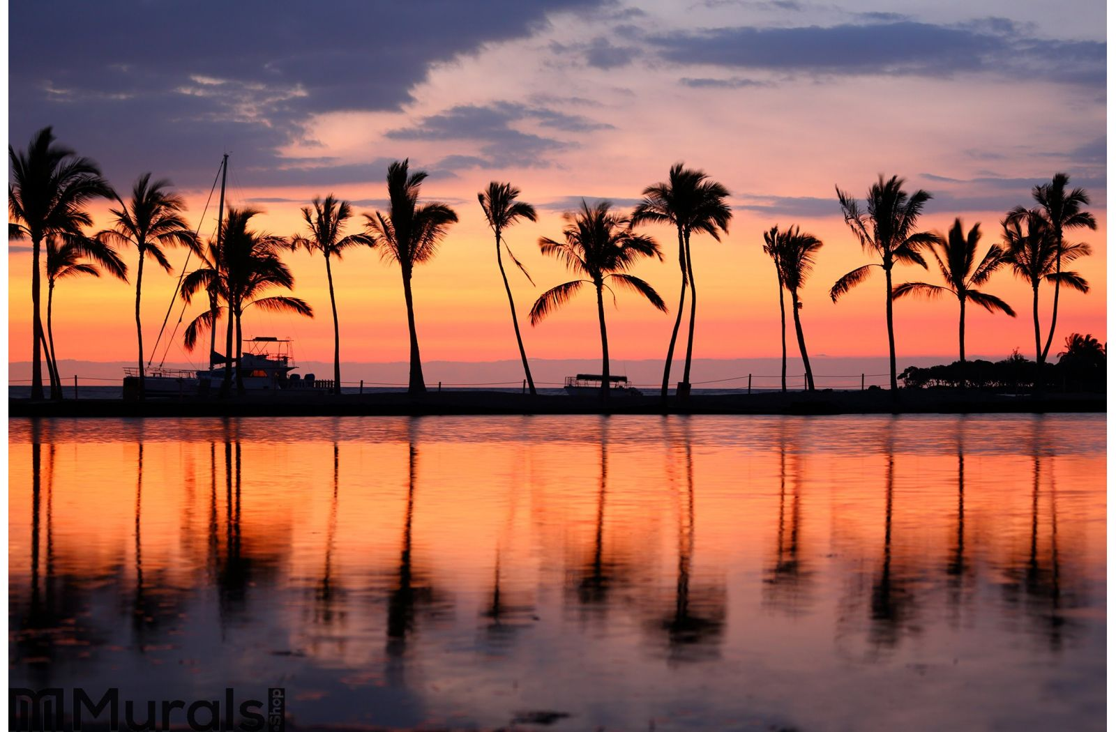 Paradise Beach Sunset Tropical Palm Trees Wall Mural