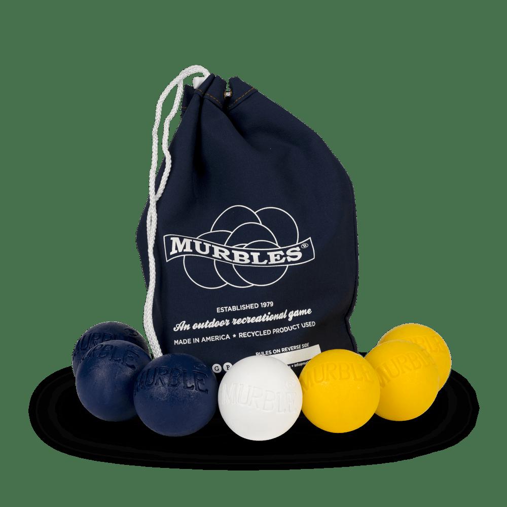 Murbles 2 Player 7 Ball Tournament Set Black Bag with Yellow Balls