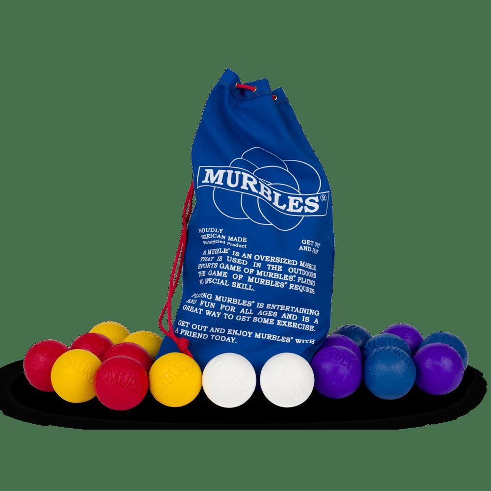 Murbles 8 Player 18 Ball Medium Activity Set Purple and Blue Murbles