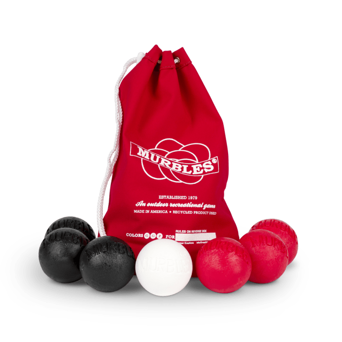 Murbles 2 Player 7 Ball Tournament Set Red Bag
