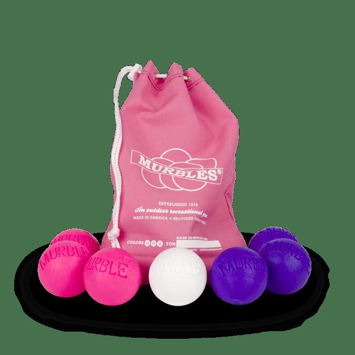 Murbles 2 Player 7 Ball Tournament Set Pink Bag