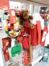 Decorations, wrapping and Christmas stockings