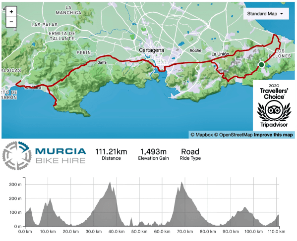 Murcia Bike Hire - La Manga Portman Cartagena Mazarrón Route
