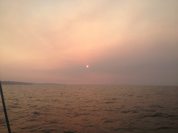 The sun sets as we sail home towards Murdunna on day 2 of the fires.