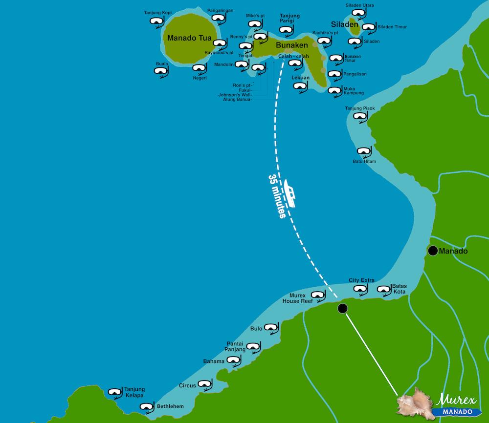 Manado Bunaken Snorkeling Map