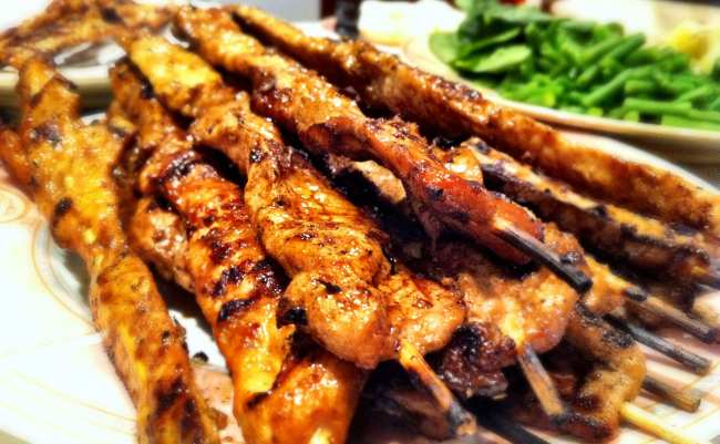 Pork Satay is a traditional dish at Christmas time