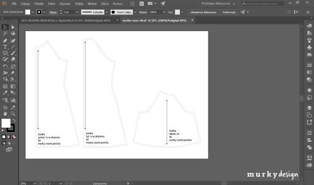 szablony odzieżowe opracowane w programie illustrator