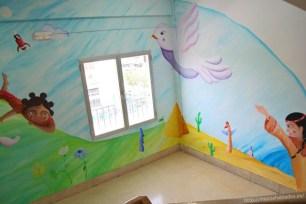 Una de las esquinas del mural de las culturas acabado