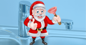 Illustration of Santa with a plunger