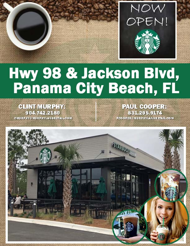 Open Starbucks at Hwy 98 and Jackson Blvd in Panama City Beach, FL