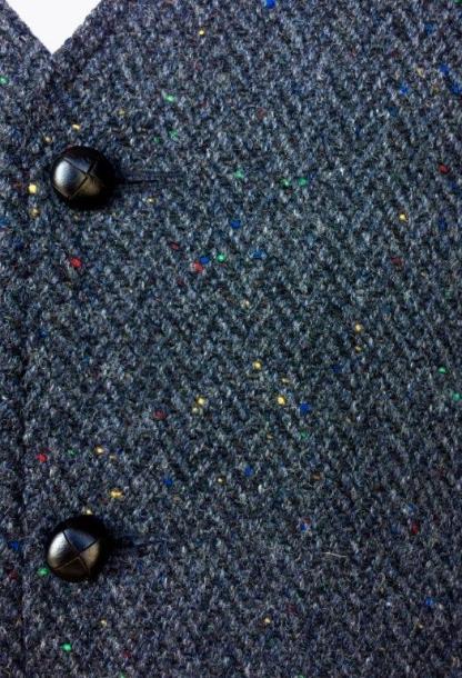 Glengesh Waistcoat Slate Grey Herringbone detail