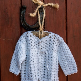 Irish Hand Crochet Christening Cardigan